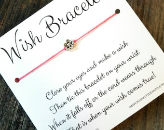 Wish Bracelet - Available In Over 100 Different Colors!!!  (Simple Silver Flower)