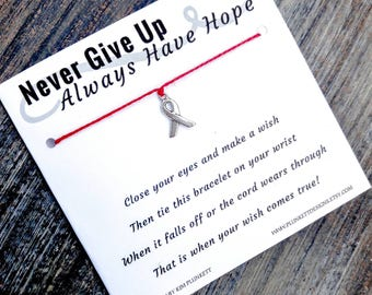 Wish Bracelet - Never Give Up Always Have Hope - Available In Over 100 Different Colors!!!  (Awareness Ribbon Charm)