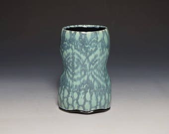 Turquoise and Black Tumbler with Lace Pattern