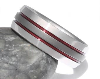 Thin Red Line Titanium Wedding Band, His and Hers Ring, Firefighter's Titanium Ring, Handcrafted Titanium Band, Red Promise Ring - sa11Red