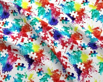 Puzzle Fabric - Autism Awareness Watercolor Splatter By Littlearrowdesign - Puzzle Piece Rainbow Cotton Fabric by the Yard with Spoonflower