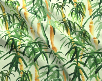 Summer Jungle Fabric - Bamboo By Svetlana Prikhnenko - Watercolor Botanical Bamboo Cotton Fabric By The Yard With Spoonflower