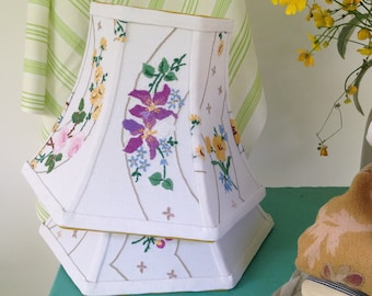 """Cottage Floral Lamp Shade, Hex Bell Lampshade, Vintage English Embroidery, 5""""t x 10""""b x 7.5"""" high, Country Bedroom Decor, Farmhouse look!"""