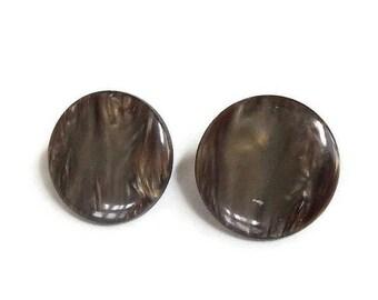 Brown Swirl Lucite Earrings Vintage 1950s