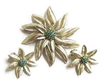 SALE Green Rhinestone Flower Brooch and Earrings Set Vintage Layered