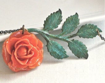 Preserved Orange Rose Necklace - Real, Flower Jewelry, Verdigris Brass, Floral Jewelry