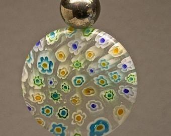 Vintage Chinese Millefiori Glass Fan Light Pull LARGE Yellow Aqua Blue Bead, Silver Glass Bead, Silver Bead Caps