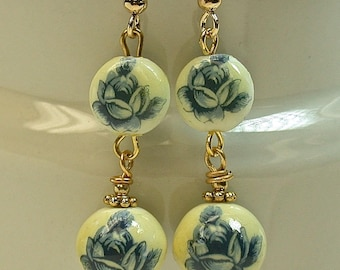 Vintage Japanese White Cream Tensha Blue Rose Bead Long Dangle Drop Earrings , Gold French Ear Wires- GIFT WRAPPED