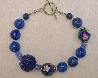 Vintage Gem Lapis Bead Bracelet,  Vintage 1970s Chinese Champleve cloisonné beads ,Bali Silver Clasp