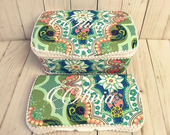 vintage print baby wioe case diaper case set of 2 bulgarian wet wipes cases mint wipes cases mint green baby diaper case baby wipes case