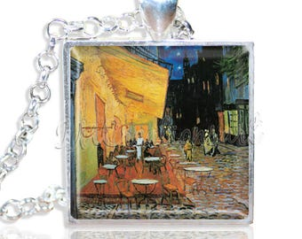 """Van Gogh's Cafe Terrace 1"""" Square Glass Pendant or with Necklace - SQ256"""