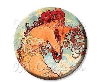"20% OFF - Pocket Mirror, Magnet or Pinback Button - Wedding Favors, Party themes - 2.25""- Mucha's Summer MR125"