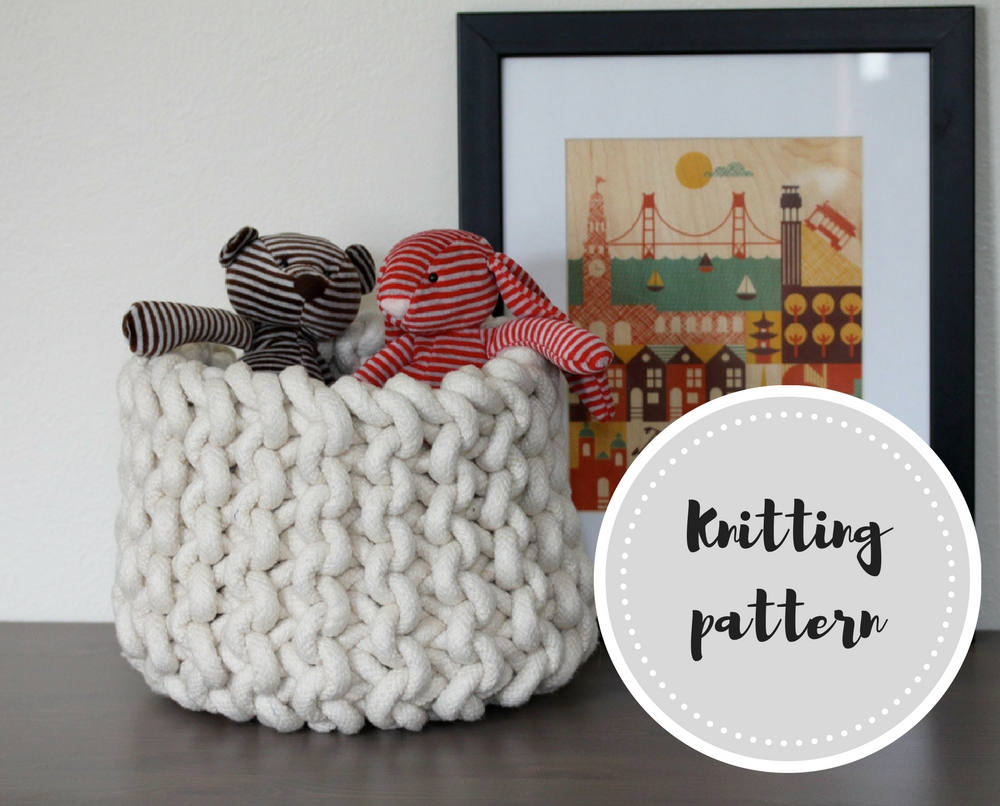 Knit rope basket PDF pattern