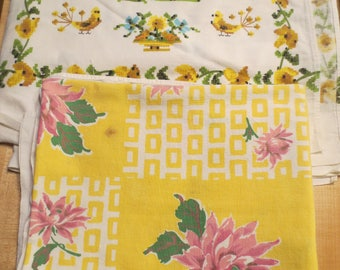 Two Vtg Tablecloths / Mid Century Tablecloths / For use or for projects / Linen Tablecloths /
