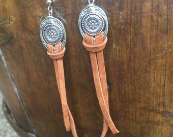 Western leather fringe earrings