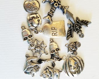 Charm Collection lot halloween pendants antique silver metal 13 assorted charms skull pumpkin witch halloween jewelry
