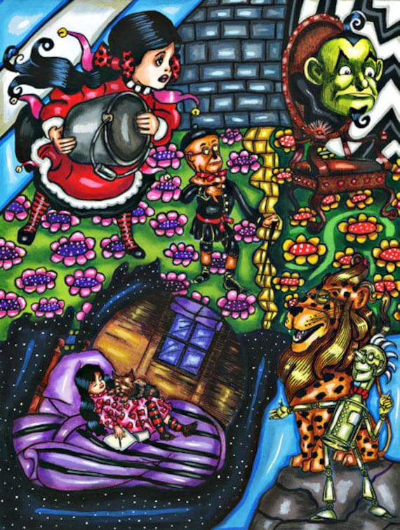 original artwork wizard of oz montage print fantasy fairytales scarecrow tin man dorothy