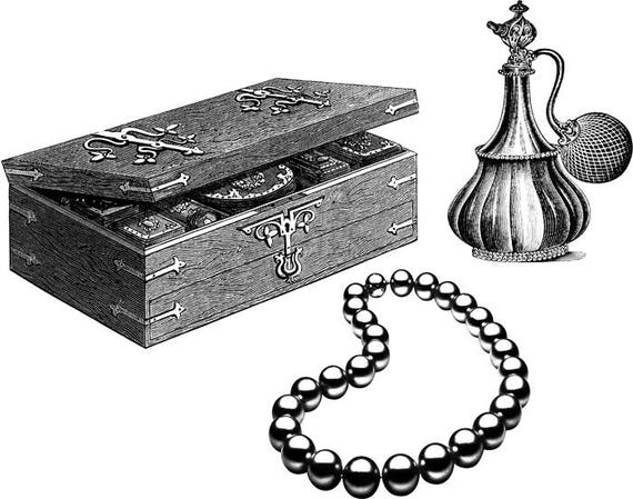 """jewelry box perfume pearl necklace printable wall art PNG jpg clipart digital stamp Image Download graphics  black & white 9.4"""" x 12"""""""