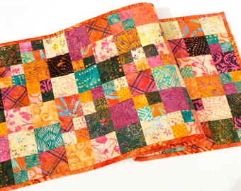 Bright and Colorful Quilted Patchwork Table Runner Jewel Tone Batik Fabrics