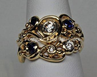 18K Gold Sapphire and Diamond Swirl Wedding Ring Set Size 6