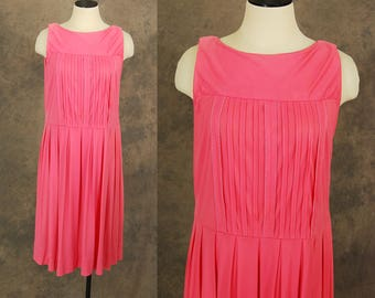 Clearance Sale vintage 60s Shift Dress - 1960s Pink Pleated Sundress Sz M