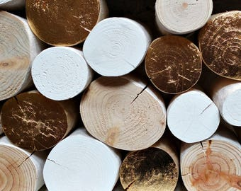 Accent GOLD LEAF Metallic decorative logs - luxury - feature - display logs - interior logs - log stack - metallic - festive