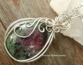 Ruby Zoisite Wire Wrapped Cabochon Sterling Silver Pendant Handmade Wire Wrapped Jewelry by Perfectly Twisted Abundance Happiness Love Stone