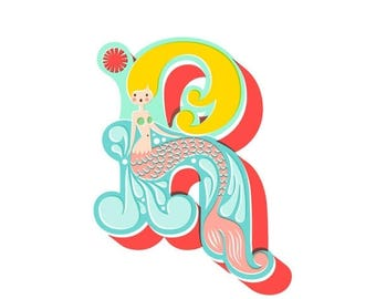 "SUMMER SALE 8X10"" mermaid letter R giclee print on fine art paper. teal and aqua blue, coral pink, blonde."