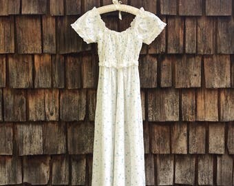 70s vintage handmade romantic white floral eyelet lace empire waist peasant style dress