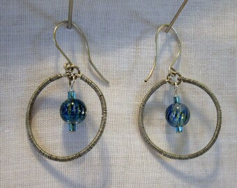 Wire Wrapped Hoops Caribbean Blue