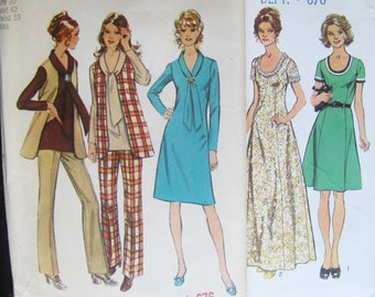 42 Bust, 2 Patterns Simplicity 5967 and 9621 Vintage 1970 / Woman's Princess A line Dress, Shift Dress, Pants, Top, Vest, 70s styles