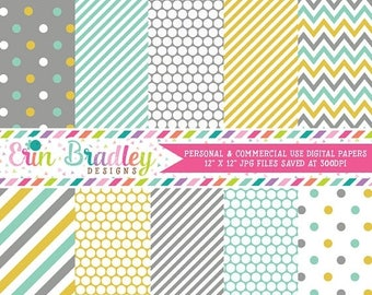 80% OFF SALE Aqua Gold and Gray Digital Paper Pack Commercial Use Instant Download