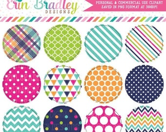 80% OFF SALE Summer Circles Clipart Pink Blue Green Orange Plaid Striped Triangle Chevron and Polka Dotted Patterns