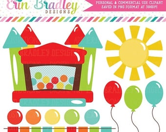 80% OFF SALE Bouncy Castle Clipart Graphics Instant Download Bounce House Digital Clip Art with Balloons Sun and Bunting