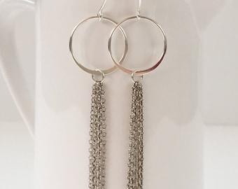 Hoop and Tassel Earrings in Sterling Silver