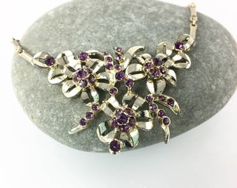 Purple Rhinestone Flower Necklace, Statement Necklace, Vintage 1950's Jewelry, Mother of the Bride