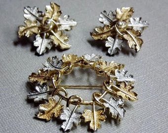 Sara Coventry Brooch and Clip Earrings, Signed Jewelry, Gold Silver Jewelry, Leaf Leaves 1960's Costume Jewelry