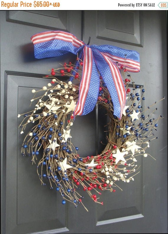SUMMER WREATH SALE July 4th Decor, Fourth of July Wreath, July 4th Berry Wreath, Americana Patriotic Wreath, Americana Decor, Rustic Wreath,