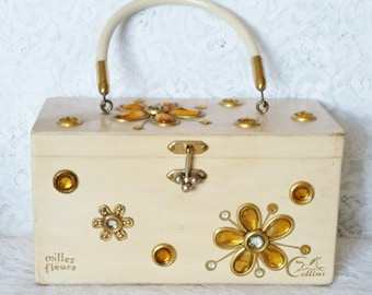 Enid Collins, Vintage Box Handbag, Mille Fleurs, Sweet Handbag, Collins of Texas, Wooden Box Bag, Vintage Purse
