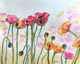 Greeting Cards: Red and Orange Poppies, Set of 4 Blank Note Cards, 4.25x5.5 inches