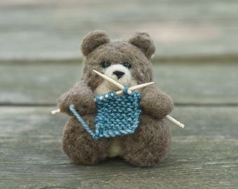 Needle Felted Bear - Knitting