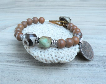 Gypsy Mala Bracelet -Gemstone Mala, Buddha Bracelet, Prayer Beads, Brown and Green, Handmade