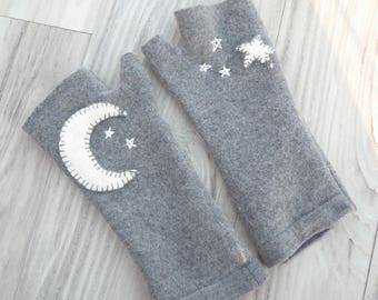 Felted Wool Fingerless Gloves in Earthy Green with Moon and Stars Ecofriendly Wrist Warmers
