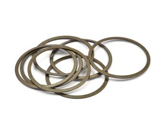 Antique Brass Ring, 20 Antique Brass Connector Rings  (28mm)    K035