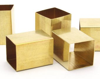 Geometric Spacer Beads, 6 Huge Raw Brass Square Tubes (18x25mm) Bs 1527