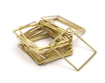 Brass Square Pendant, 6 Raw Brass Square Connectors (35mm) Bs1309