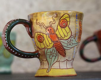 Butterfly small ceramic mug, espresso cup, unique one of a kind pottery