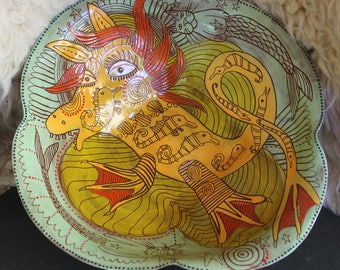 Large Ceramic Serving Bowl, terra cotta, seahorses, mermaids