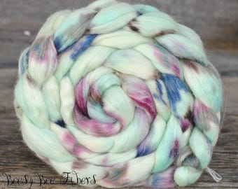TOBAGO - Hand Dyed Merino, Wool Roving, Soy Silk, Mohair, Nylon Wool Spinning Roving Combed Top Luxury Fiber for Spinning Felting