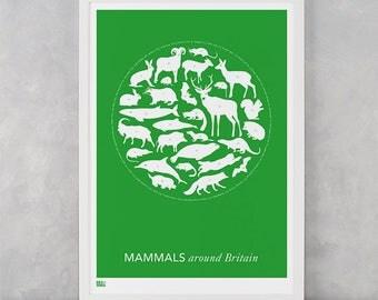 Mammals Around Britain Screen Print, Mammals Screen Print, Animals Wall Poster, Animals Wall Art, Britain Wall Art, Nature Wall Artwork